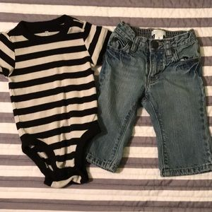 Old Navy boys shirt and jeans 6-12M
